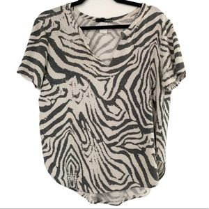 Zebra Print V-Neck Top